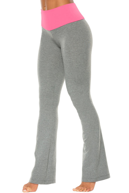 "High Waist Bootleg Pants - Final Sale - Candy Pink Supplex Accent on Medium Grey Cotton - Small - 33"" Inseam"