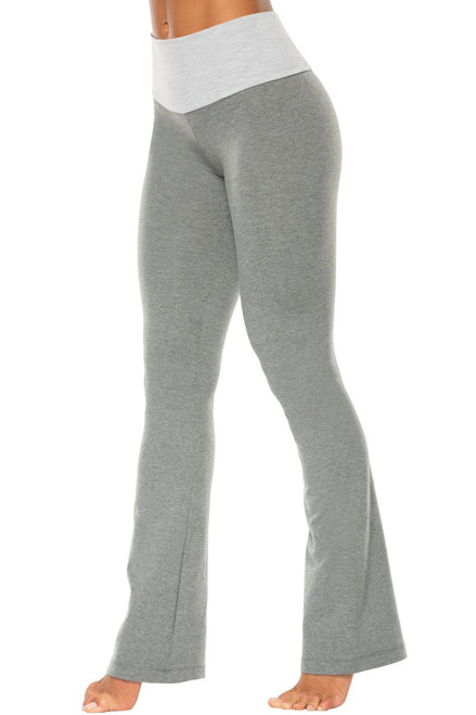 "High Waist Bootleg Pants - Final Sale - Light Grey Accent on Medium Grey Cotton - Medium - 34.5"" Inseam"