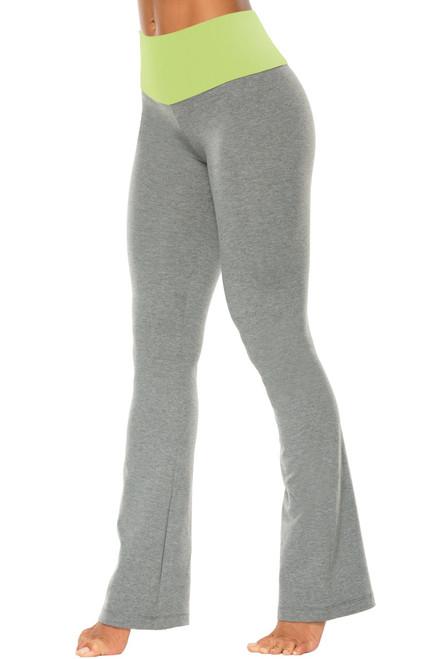"High Waist Bootleg Pants - Final Sale - Lime Supplex Accent on Medium Grey Cotton - Medium - 35"" Inseam"