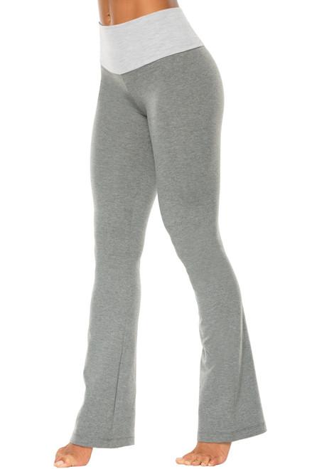 "High Waist Bootleg Pants - Final Sale - Light Grey Accent on Medium Grey Cotton - Large - 34.5"" Inseam"