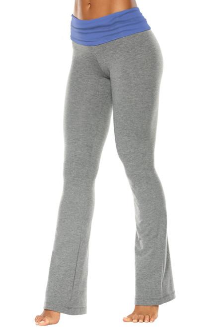"Rolldown Bootleg Pants - Final Sale - Malibu Supplex Accent on Medium Grey Cotton - Large - 34.5"" Inseam"