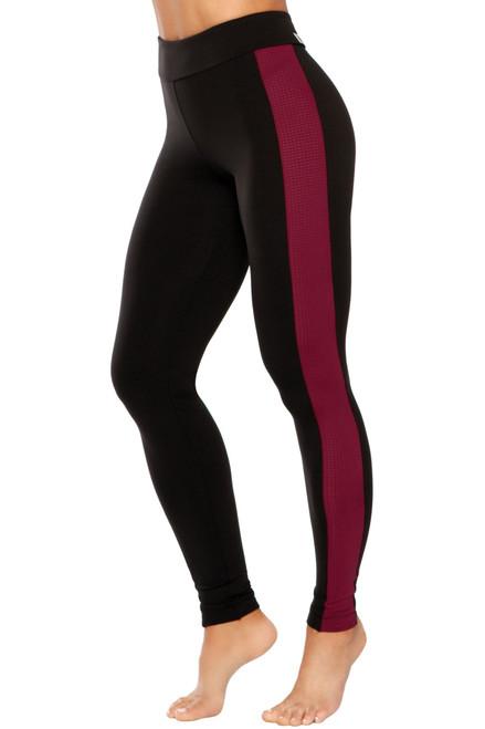 Side Stripe High Rise Mini Band Leggings - Athletic Mesh Accent on Supplex