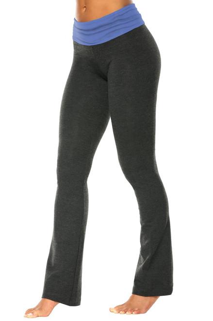 "Rolldown Bootleg Pants - Final Sale - Malibu Supplex Accent on Dark Grey Cotton - Large - 33"" Inseam"