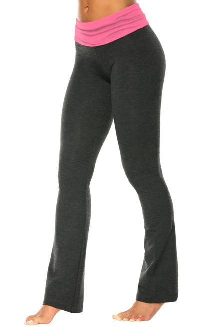 """Rolldown Bootleg Pants - Final Sale - Candy Pink Supplex Accent on Dark Grey Cotton - XS - 30.5"""" Inseam"""