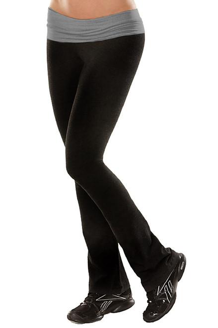 "Rolldown Bootleg Pants - Final Sale - Medium Grey Cotton Accent on Black Cotton - Small - 33"" Inseam"
