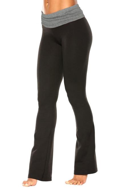 "Rolldown Bootleg Pants - Final Sale - Medium Grey Cotton Accent on Black Cotton - Small - 34"" Inseam"