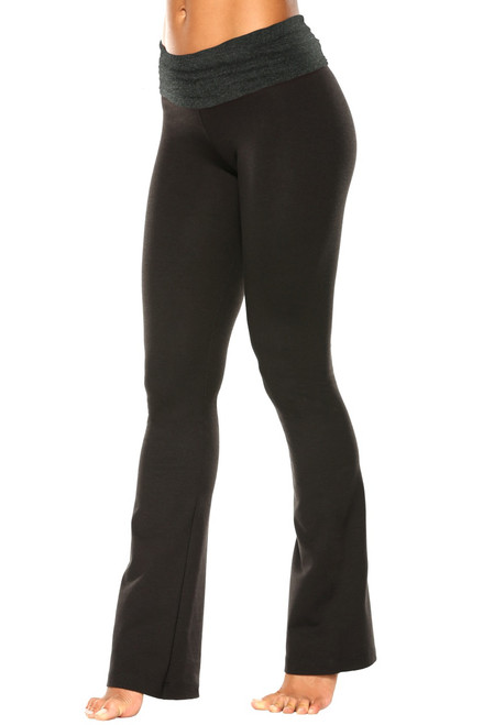 "Rolldown Bootleg Pants - Final Sale - Dark Grey Cotton Accent on Black Cotton - Medium - 34"" Inseam"
