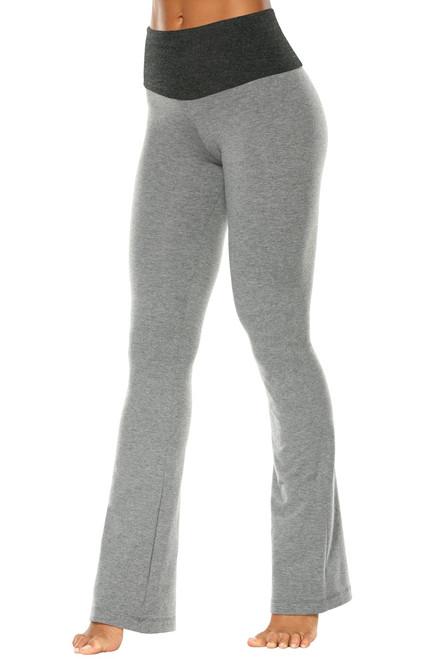 "High Waist Bootleg Pants - Final Sale - Dark Gray Cotton Accent on Medium Grey Cotton - XS - 31"" Inseam"