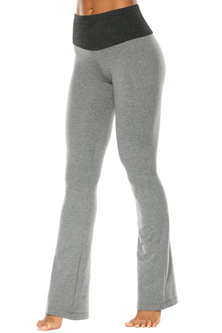 "High Waist Bootleg Pants - Final Sale - Black Accent on Medium Grey Cotton - Large- 34"" Inseam"