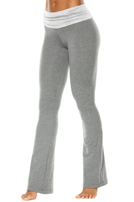 "Rolldown Bootleg Pants - Final Sale - Light Grey Accent on Medium Grey Cotton - XS - 31.5"" Inseam"