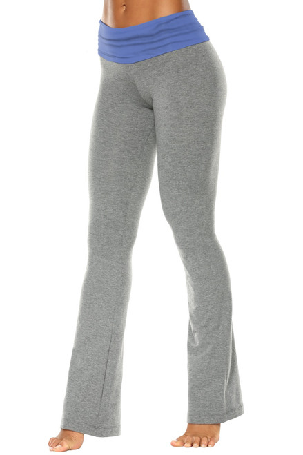 "Rolldown Bootleg Pants - Final Sale - Malibu Supplex Accent on Medium Grey Cotton - Small - 33"" Inseam"