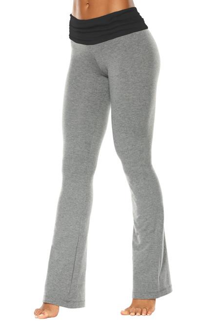 "Rolldown Bootleg Pants - Final Sale - Black Accent on Medium Grey Cotton - Small - 33.5"" Inseam"