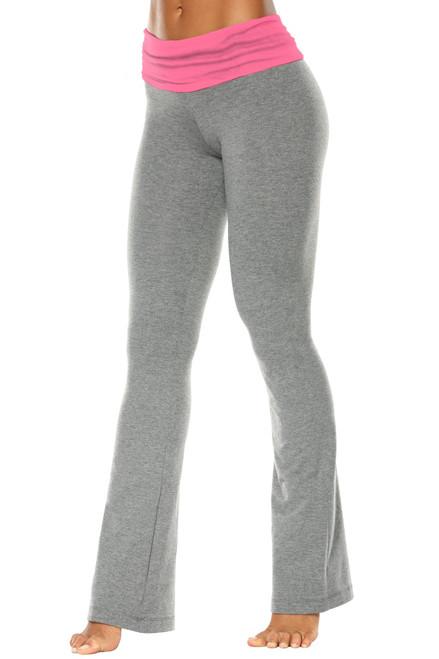 "Rolldown Bootleg Pants - Final Sale - Candy Pink Supplex Accent on Medium Grey Cotton - Small - 33.5"" Inseam"