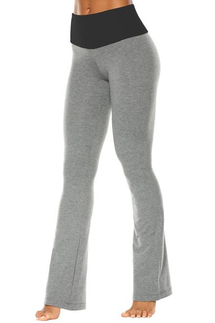 "High Waist Bootleg Pants - Final Sale - Black Accent on Medium Grey Cotton - Small - 34"" Inseam"