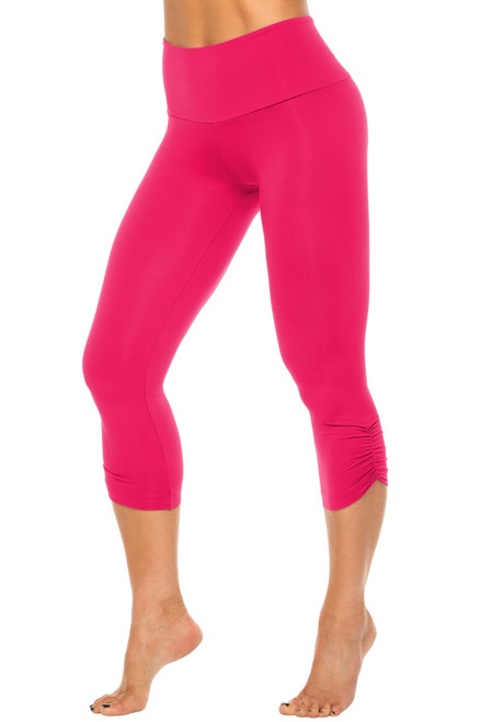 High Waist Side Gather 3/4 Leggings - Begonia - Final Sale - Small