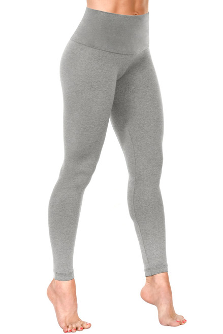 "High Waist Leggings - Stretch Medium Gray Cotton - Final Sale - Medium - 28"" Inseam"