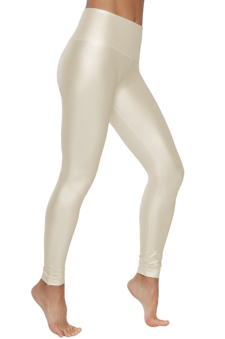 High Waist Leggings - Liquid Pearl