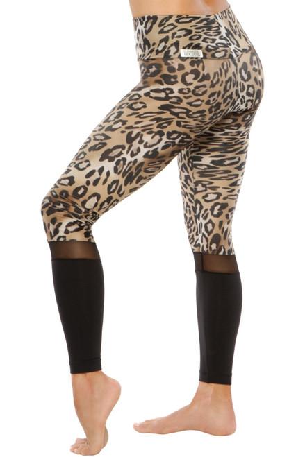Salia High Waist Leggings - Leopard Print / Mesh / Supplex