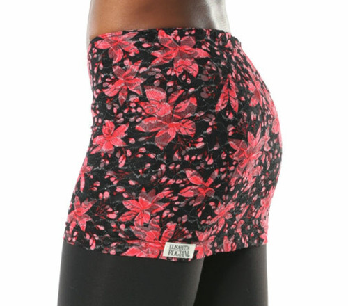 """Lace Skirt - Black/Red - FinalSale - Small -  length 13.5"""" front  / 14.25"""" back - (skirt only - shown w/black leggings not included)"""