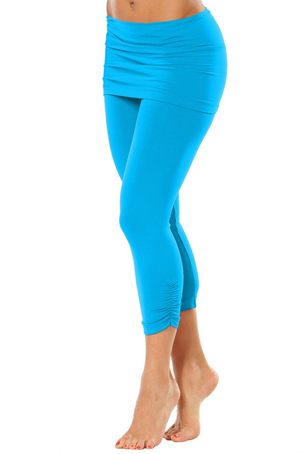"""Transformable Skirt Side Gather 3/4 Leggings -Bright  Turquoise - Final Sale - Large - inseam 23"""" (1 Available)"""