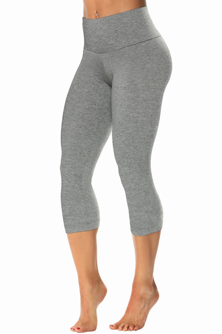 High Waist 3/4 Leggings - Stretch Cotton