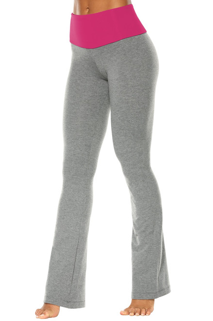 "High Waist Bootleg Pants - Final Sale - Berry  Supplex Accent on Medium Grey Cotton - S - 33.5"" Inseam"