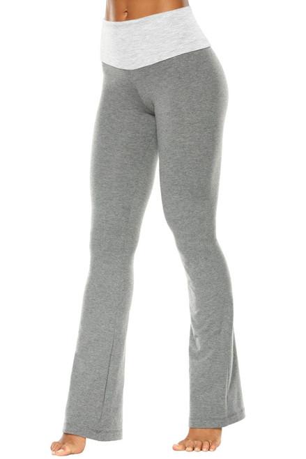 """High Waist Bootleg Pants - Final Sale - Light Gray Accent on Medium Grey Cotton - S - 32"""" Inseam"""