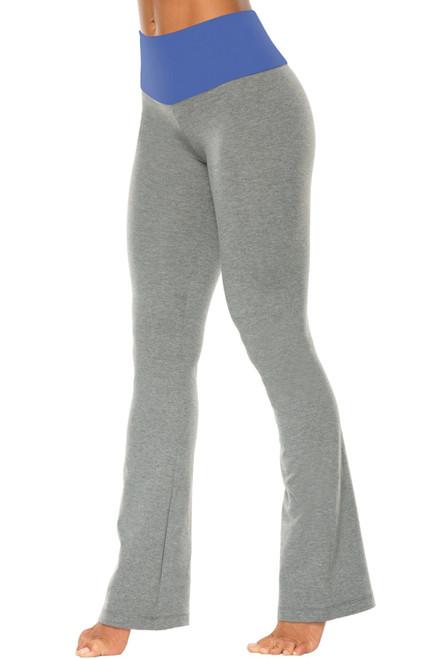 "High Waist Bootleg Pants - Final Sale - Malibu Supplex Accent on Medium Grey Cotton - Large- 32"" Inseam"