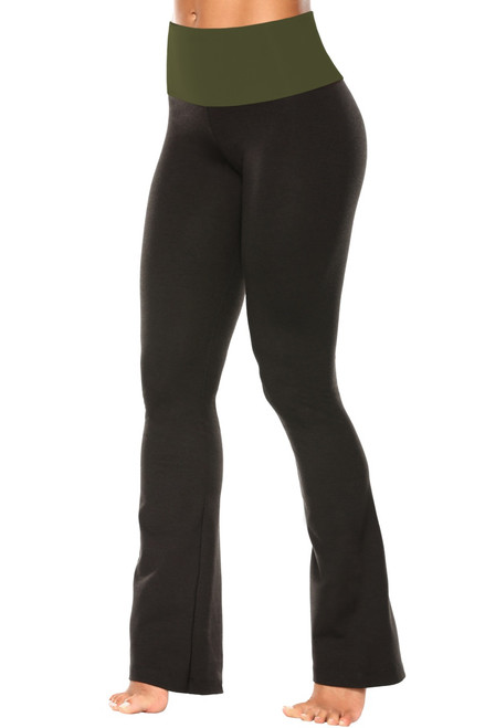 "High Waist Bootleg Pants - Final Sale - Army Supplex Accent on Black Cotton - Medium - 33.5"" Inseam"