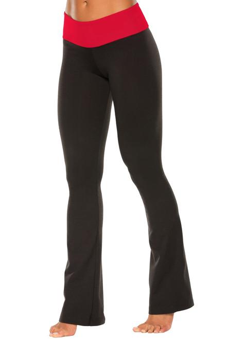 "Sport Band Bootleg Pants - Final Sale - Vegas Red Supplex Accent on Black Cotton - Medium - 34.25"" Inseam"