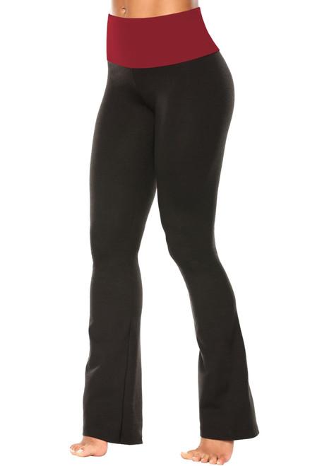 """High Waist Bootleg Pants - Final Sale - Dark Red Supplex Accent on Black Cotton - Medium - 34.25"""" Inseam"""
