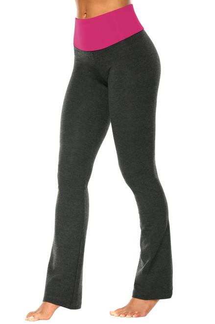 "High Waist Bootleg Pants - Final Sale - Berry Supplex Accent on Dark Grey Cotton - Large - 34"" Inseam"