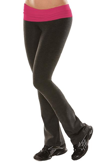 "Rolldown Bootleg Pants - Final Sale - Berry Supplex Accent on Dark Gray Cotton - Large - 34"" Inseam"