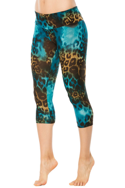 Sport Band 3/4 Leggings - Tiger Turquoise - FINAL SALE - Medium (1 available)