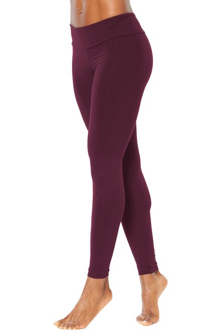 "Sport Band Leggings - BURGUNDY - FINAL SALE - XS  - 26"" Inseam"