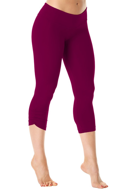 Sport Band Side Gather 3/4 Leggings - Supplex - Burgundy - Final Sale - X-Small