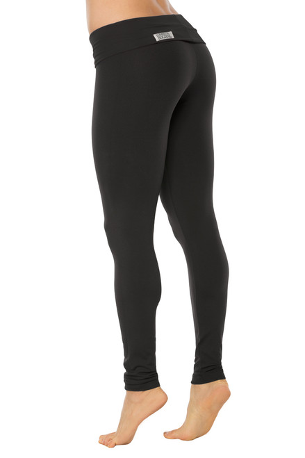 STRETCH Cotton Rolldown Leggings - BLACK ON BLACK - FINAL SALE - XS (1 AVAILABLE)