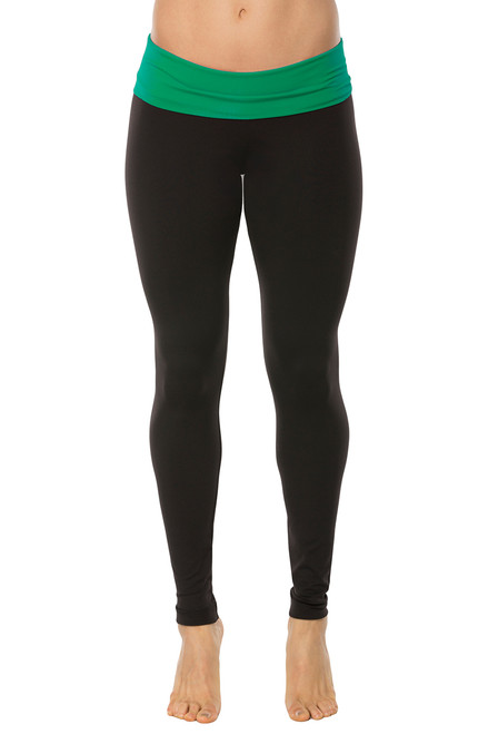 Rolldown Leggings - Supplex - Emerald Accent on Black - FINAL SALE - XS