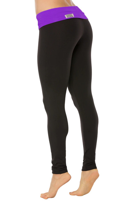 Rolldown Leggings - Supplex - Iris Accent on Black - FINAL SALE - XS