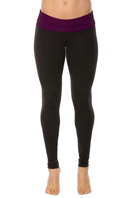 Rolldown Leggings - Supplex -Eggplant Accent on Black - FINAL SALE- XS