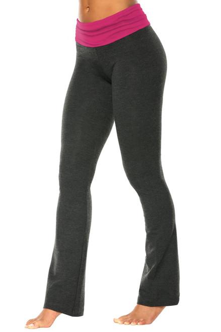 "Rolldown Bootleg Pants - Final Sale - Berry Supplex Accent on Dark Gray Cotton - XS - 31"" Inseam"
