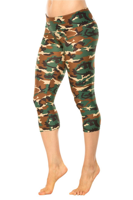 CAMOUFLAGE GREEN SPORT BAND 3/4 LEGGINGS