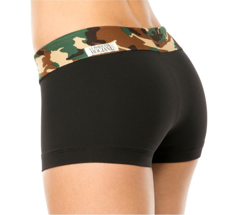 MINI BAND MINI SHORTS - CAMOUFLAGE GREEN ON SUPPLEX