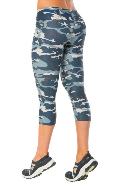 CAMOUFLAGE BLUE SPORT BAND 3/4 LEGGINGS