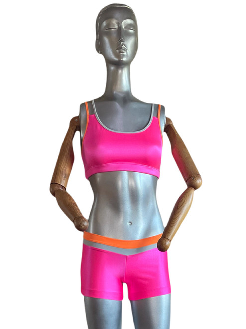 """Hot Pink outfit with Silver and Tangerine straps/ waist band - Final Sale - Small bra & shorts - 3"""" Inseam"""