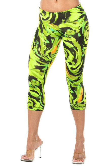 JNL Sport Band 3/4 Leggings - Hurricane Green Print - Final Sale