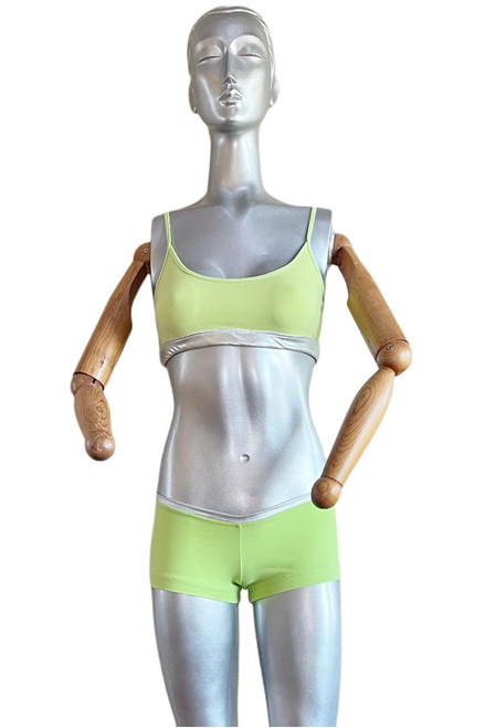 """Lime and Silver - Cover Look - Final Sale - Medium Bra & Shorts - 2"""" Inseam"""