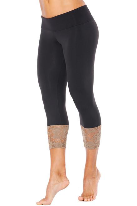 Sport Band Modella Long Cuff 3/4 Leggings - Lace Accent on Supplex