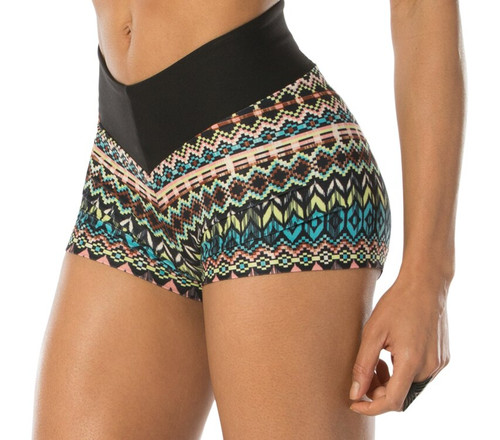 V High Waist Band Shorts - Brushed Print w/ Supplex Wiastband