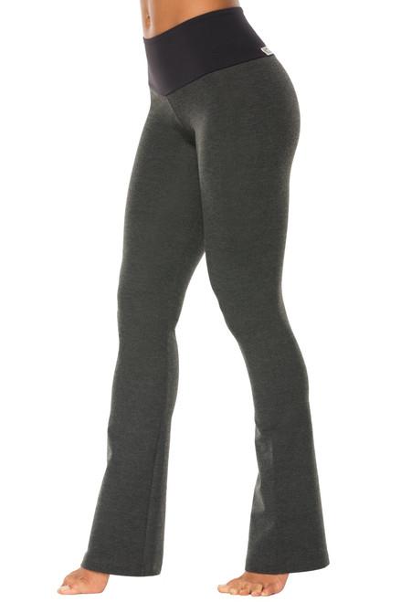 High Waist Bootleg Pants - Contrast on Dark Gray Cotton